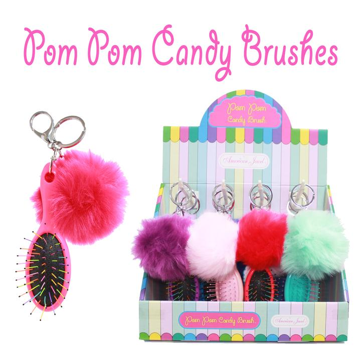 Pack Pom Pom Candy Brush Keychains