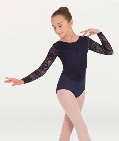 Long Sleeve Leotard W/Lace Sleeves