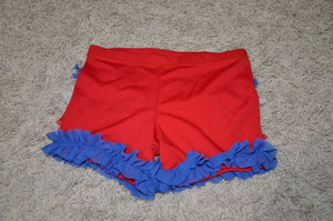 BOOTY SHORTS, RED, WHITE & BLUE RUFFLE