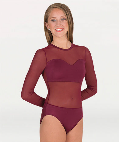 LEOTARD WITH POWER MESH BODY & SLEEVES