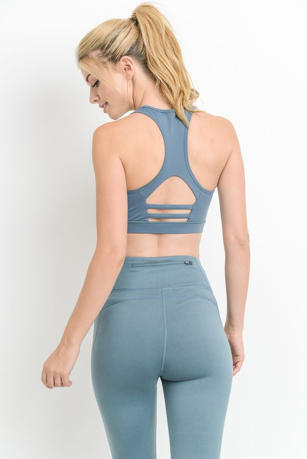 Mesh Detail And Cutout Back Sports Bra
