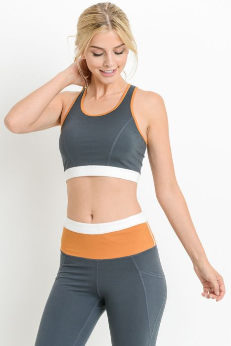 Lattice Back Triple Color Racerback Sports Bra