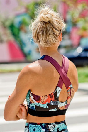 Cross-Back Kaleidoscope Camo Sports Bra