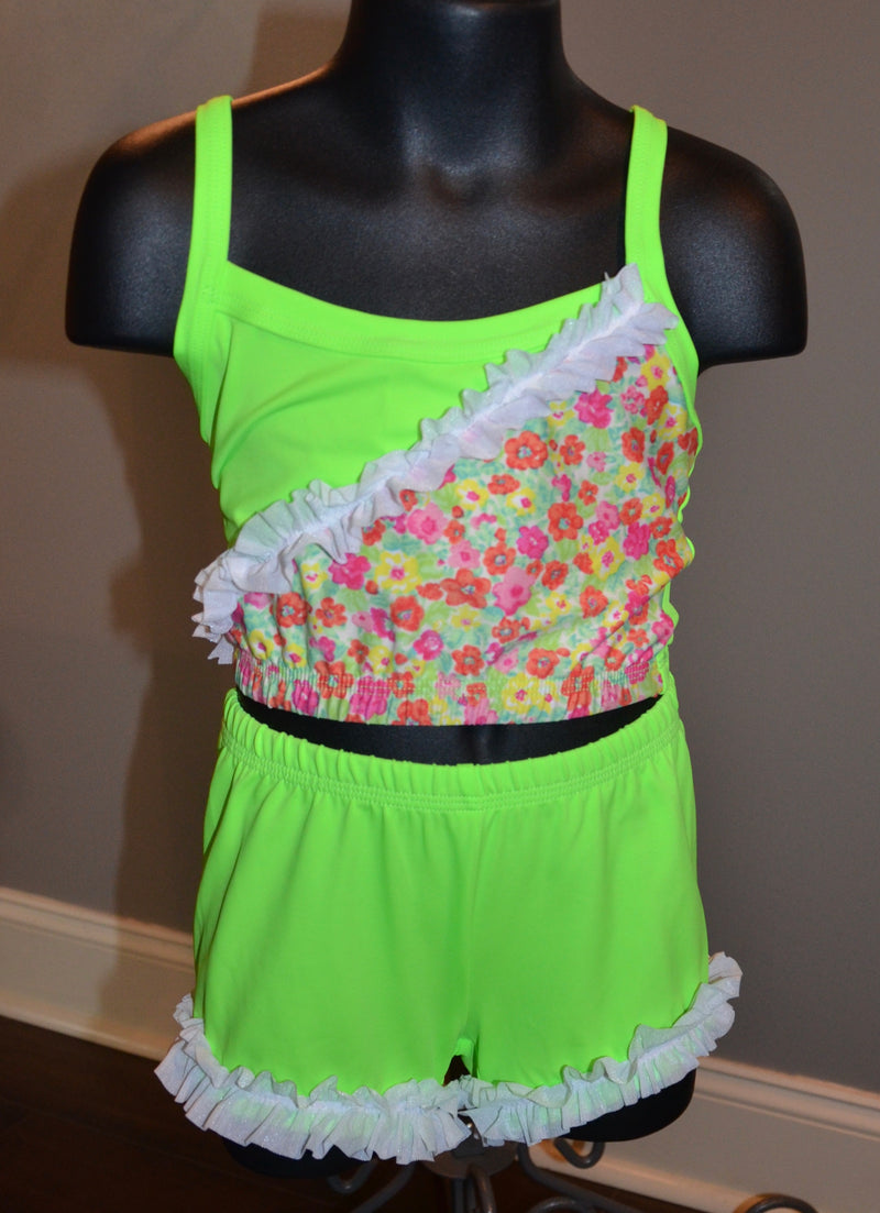 LIME GREEN WITH TINY FLOWERS, DANCE SET