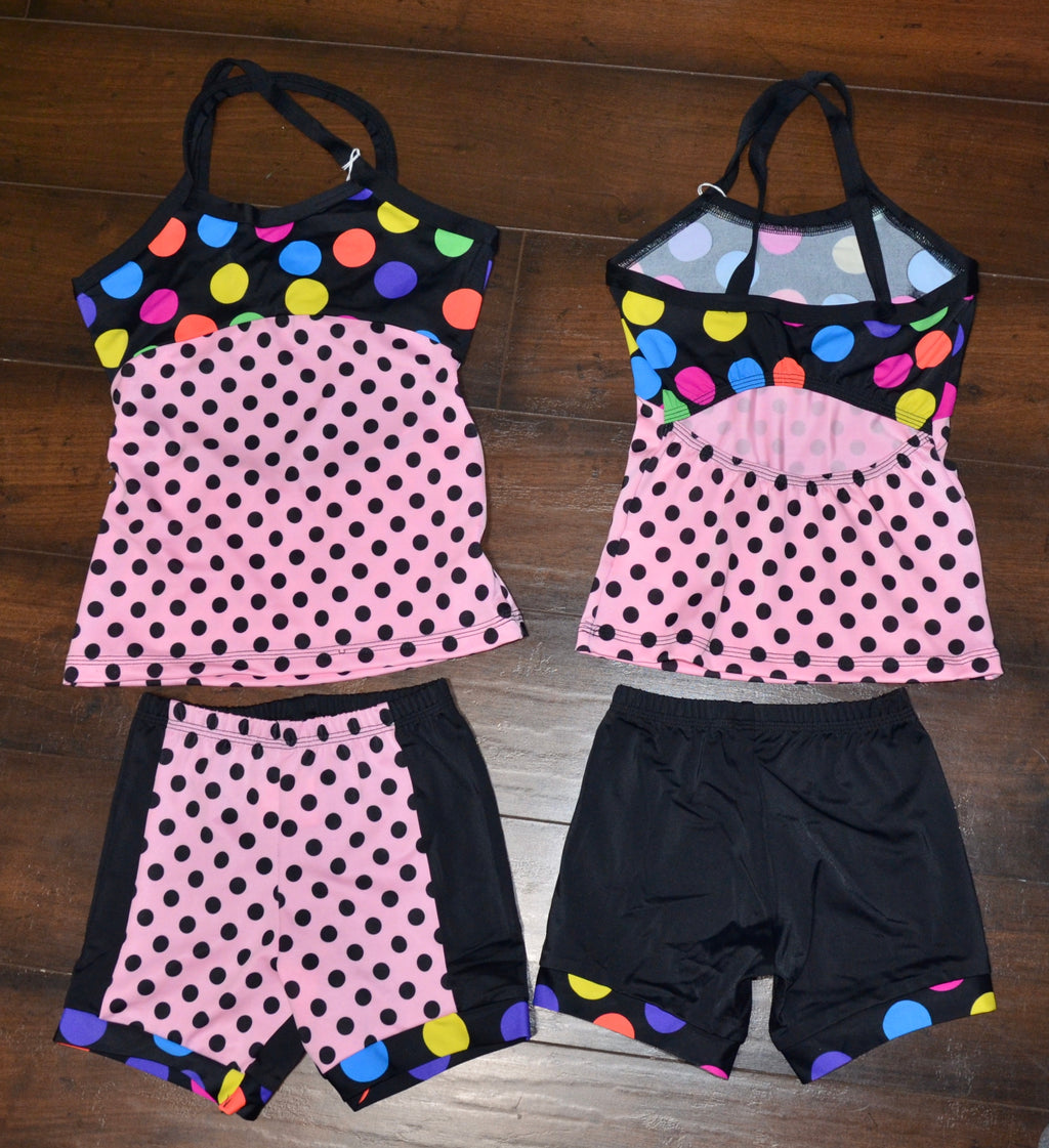 PINK & BLACK/ POLKADOTS LONG TOP SET