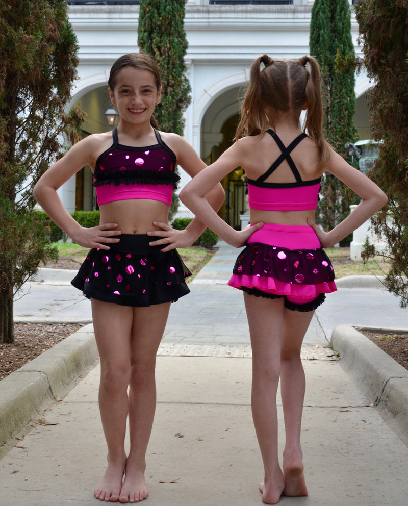 BLACK/ FUCHSIA FOIL DOTS DANCE SET