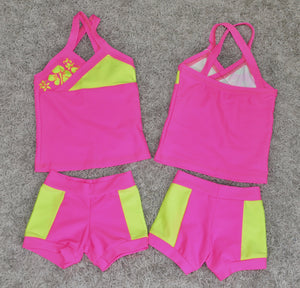 HOT PINK/NEON YELLOW WITH FLOWERS SET