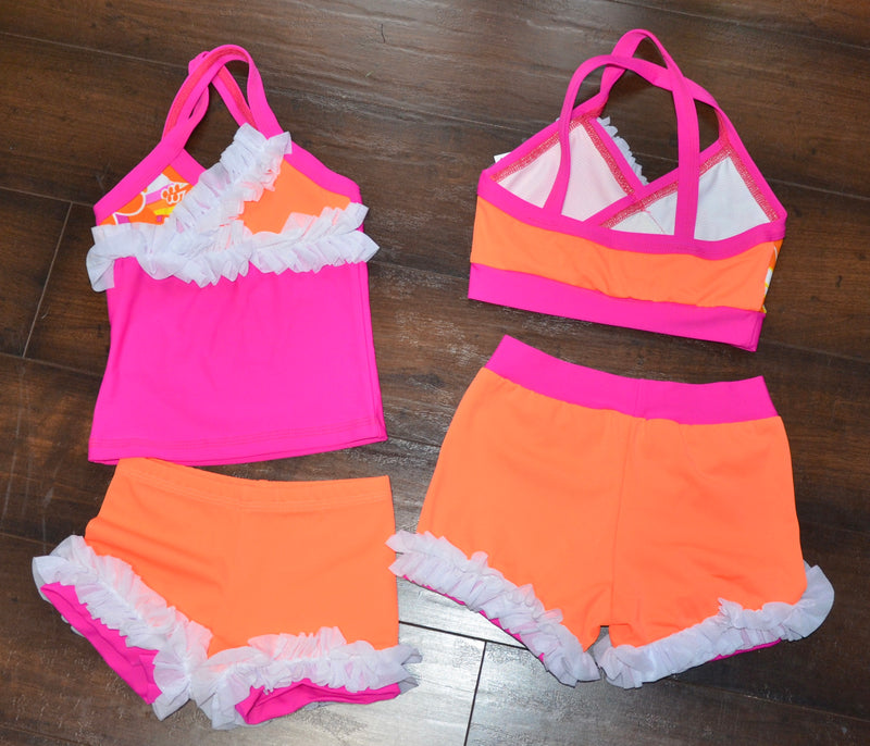 FUCHSIA/ ORANGE CROP TOP DANCE SET