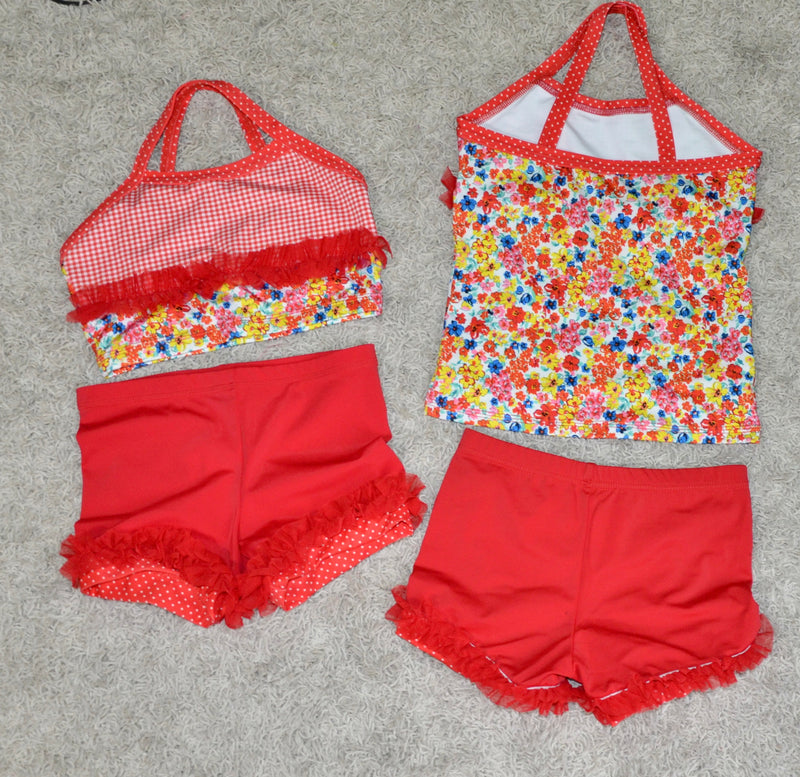 RED & WHITE GINGHAM/FLOWERS DANCE SET CROP