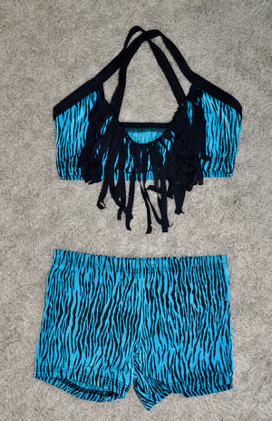 BLACK & BLUE/ ZEBRA PRINT DANCE SET