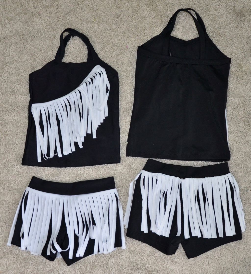 BLACK/ WHITE FRINGE LONG TOP DANCE SET