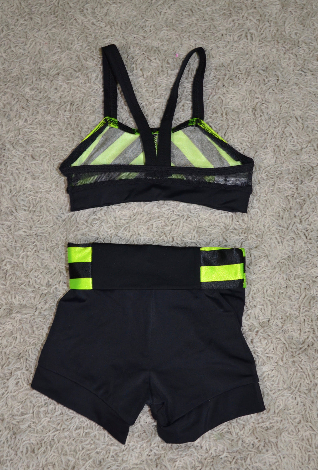 BLACK/LIME GREEN CROP TOP SET
