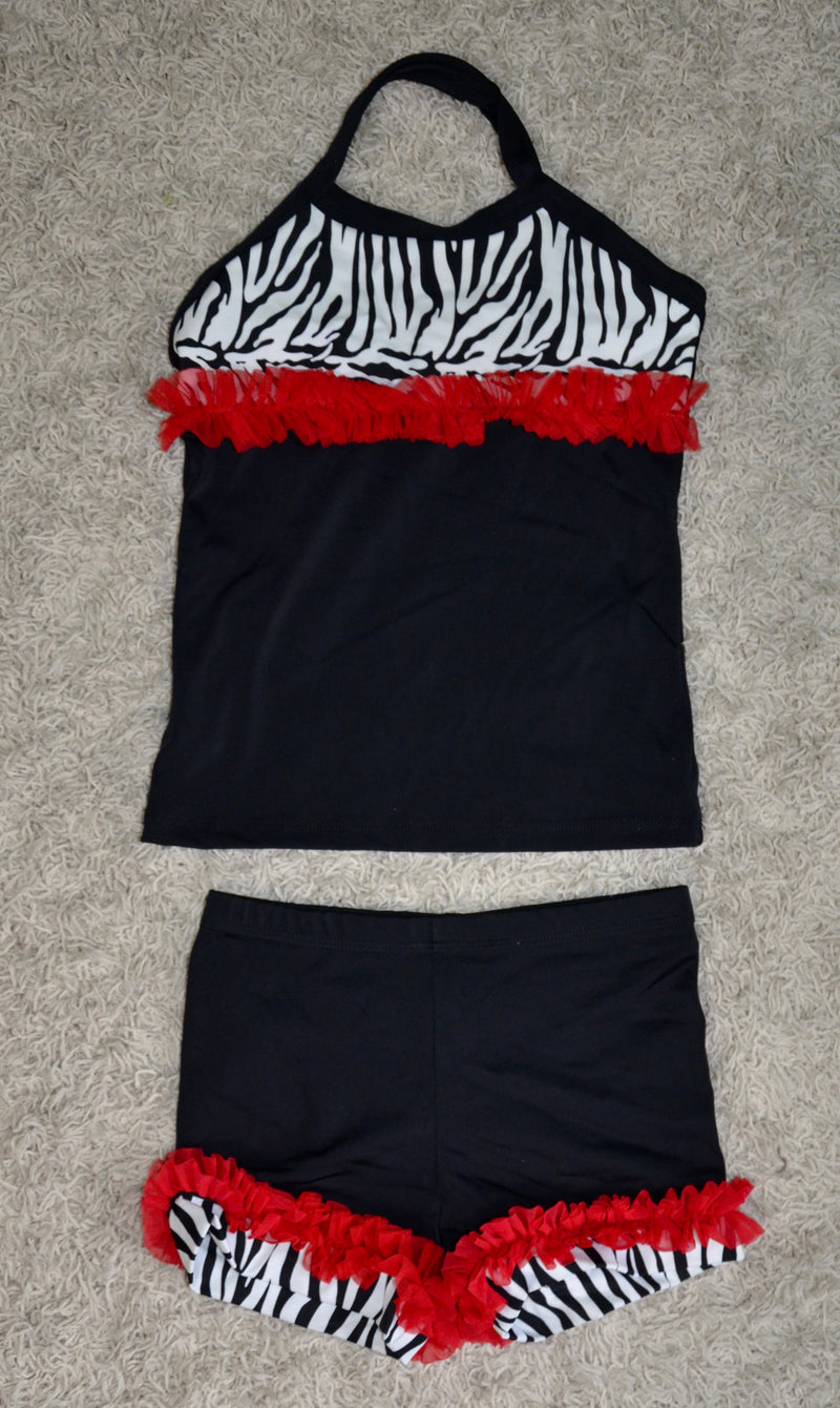 BLACK/ ZEBRA PRINT/ RED RUFFLE DANCE SET