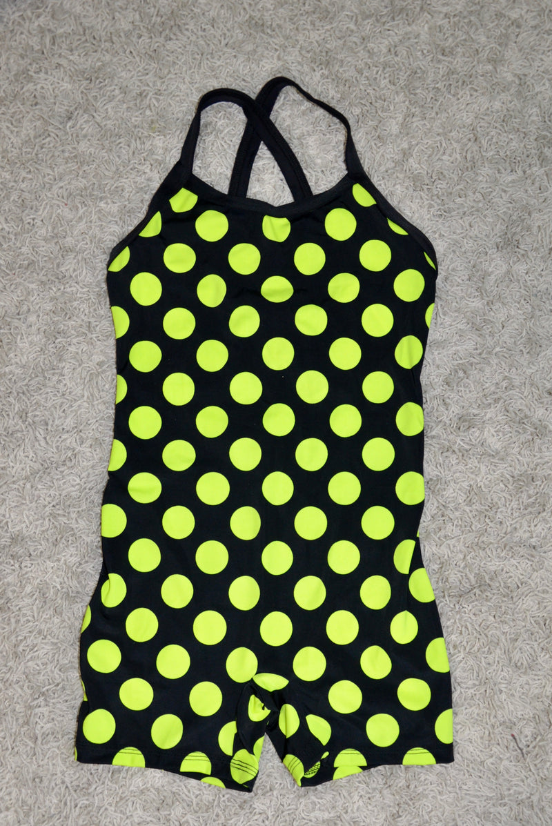 BODYSUIT, BLACK WITH YELLOW DOTS