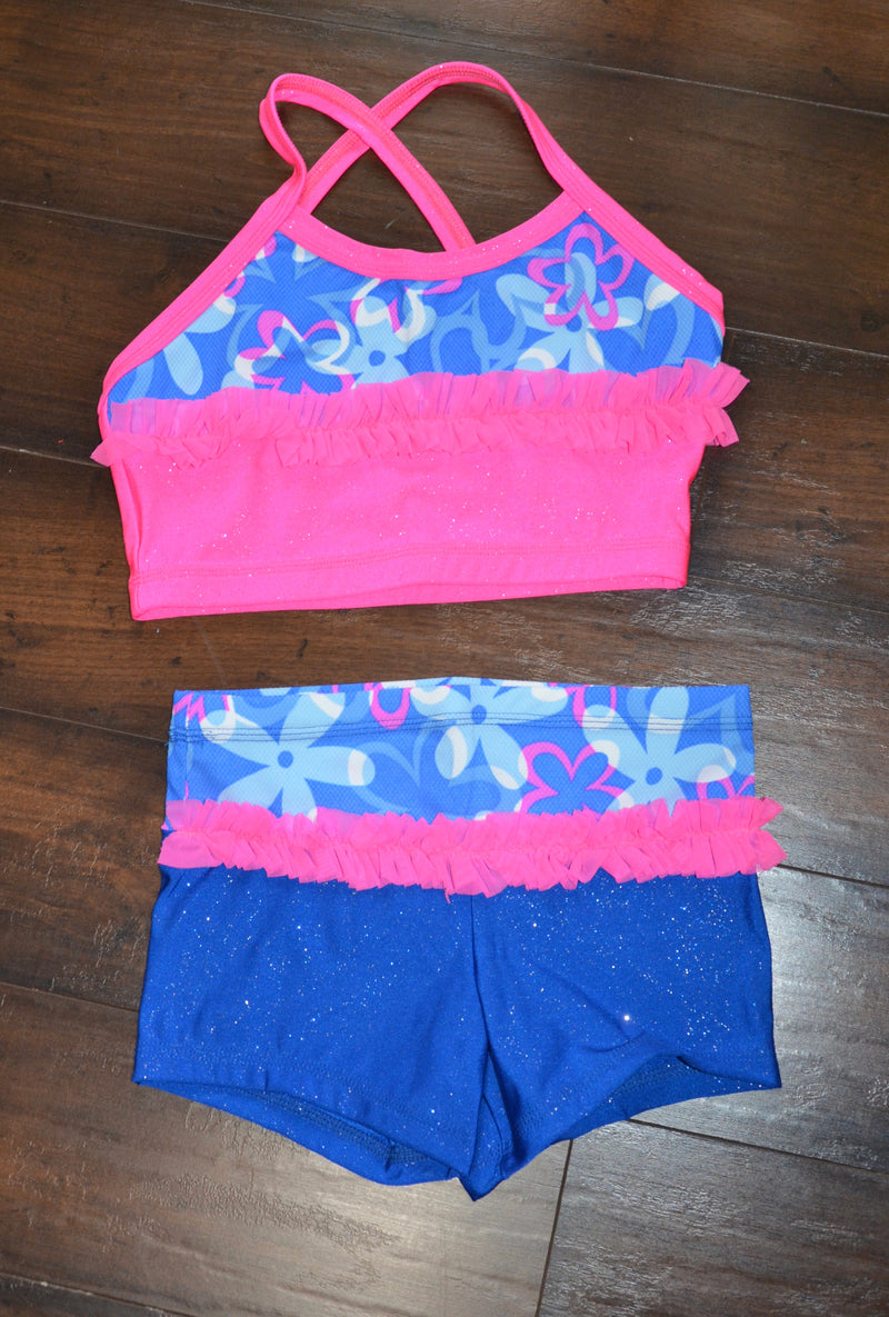 RUFFLE DANCE SET, HOT PINK & ROYAL