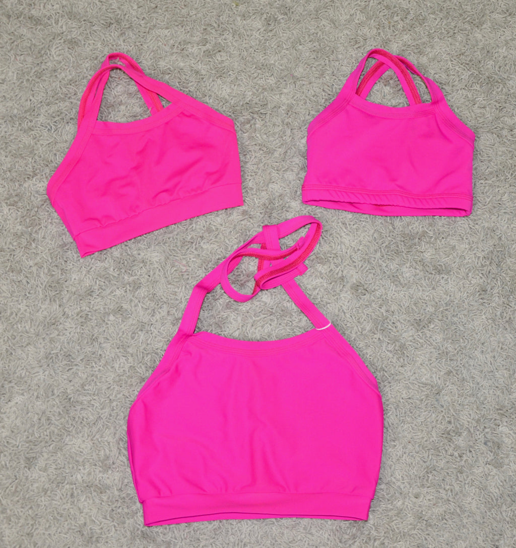 CROP HALTER TOP, FUCHSIA