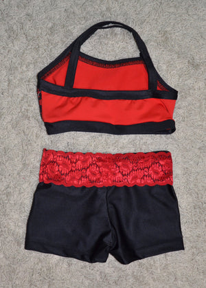 RED/BLACK LACE TOP, BLACK SHORTS/ RED LACE WAISTBAND SET