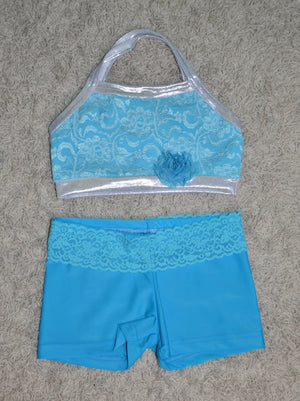 TURQUOISE TOP WITH SILVER LACE OVERLAY, TURQUOISE SHORTS WITH LACE WAISTBAND