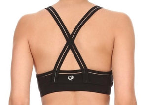BLACK ACTIE BRA TOP/CLEAR MESH TRIM