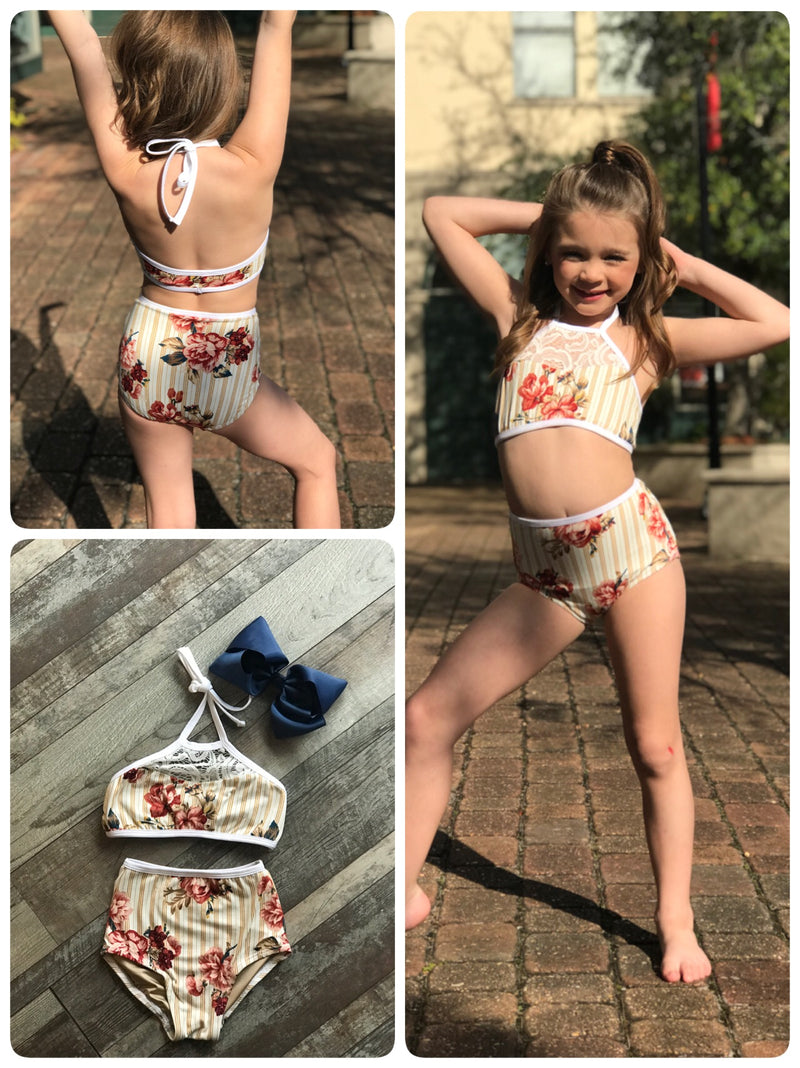 GOLD STRIPE FLORAL DANCE SET
