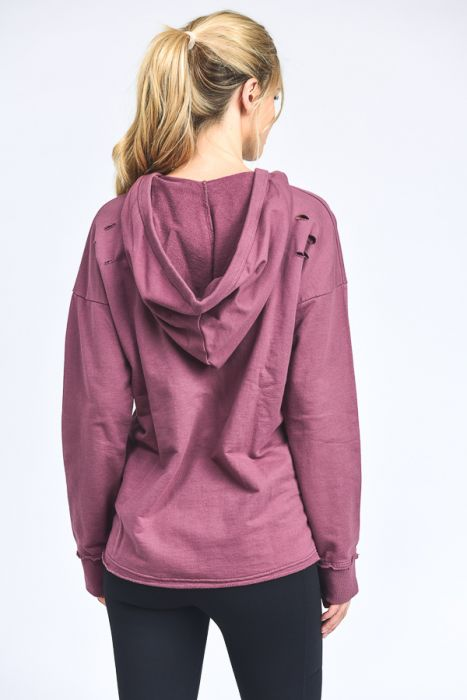 Garment Dye Distressed Tie-Front Hoodie Top