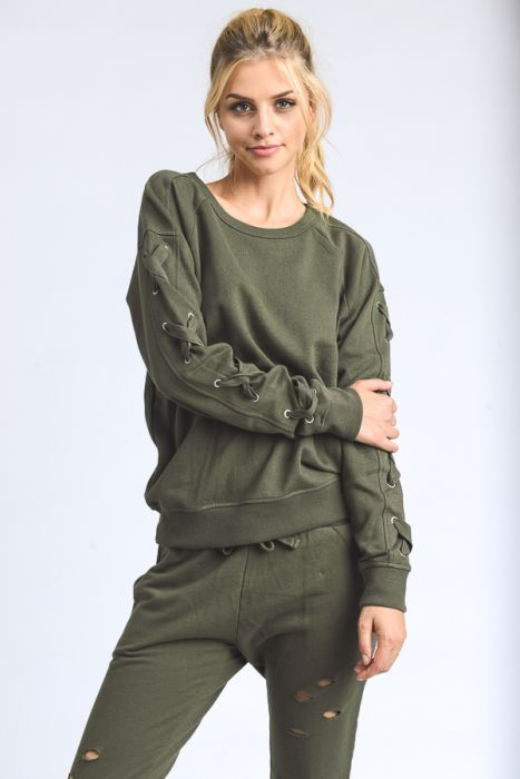 Garment-Dye Lace-Sleeve Fleece Sweater
