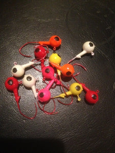 25 Painted 1/2oz Round Head Floating Jigs 2/0 Red Matzuo Sickle Hooks