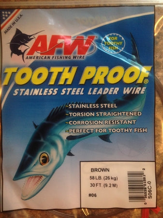 #6 American Fishing Wire AFW Tooth Proof Stainless Steal Leader 30 Ft Camo Brown