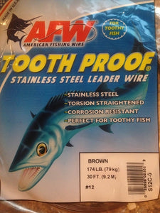 #12 American Fishing Wire AFW Tooth Proof Stainless Steal Leadr 30 Ft Camo Brown