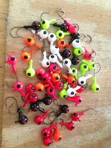 25 Pack 1/4 oz (Medium) Round Head Floating Jigs Black Nickle Hooks