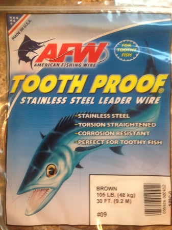 #9 American Fishing Wire AFW Tooth Proof Stainless Steal Leader 30 Ft Camo Brown