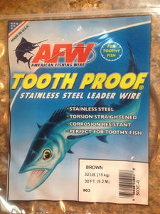 #3 American Fishing Wire AFW Tooth Proof Stainless Steal Leader 30 Ft Camo Brown