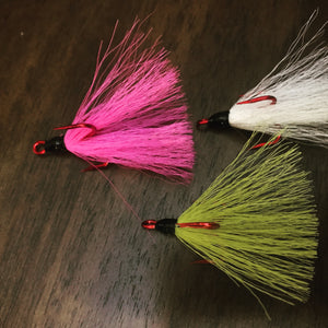 Dressed Bucktail Red Barbless Treble Hooks  UV Glued!!!
