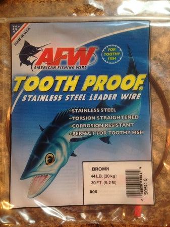 #5 American Fishing Wire AFW Tooth Proof Stainless Steal Leader 30 Ft Camo Brown