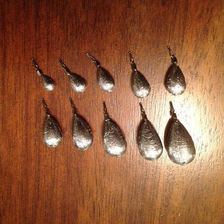 100 Pack TearDrop Drop Shot Weights, Pear Sinkers for Bass Fishing