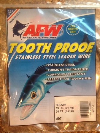 #7 American Fishing Wire AFW Tooth Proof Stainless Steal Leader 30 Ft Camo Brown