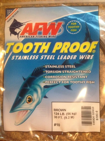 #10 American Fishing Wire AFW Tooth Proof Stainless Steal Leadr 30 Ft Camo Brown