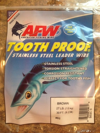 #2 American Fishing Wire AFW Tooth Proof Stainless Steal Leader 30 Ft Camo Brown