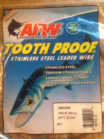 #11 American Fishing Wire AFW Tooth Proof Stainless Steal Leadr 30 Ft Camo Brown