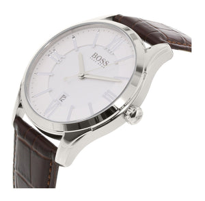 HUGO BOSS | White / Silver / Brown Leather Ambassador Men's Watch | 1513021