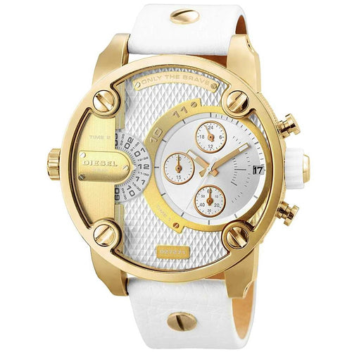 DIESEL | Little Daddy Gold / White Leather Men's Watch | DZ7273