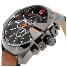 DIESEL | Black / Brown Leather Mega Chief Men's Chronograph Watch | DZ4343