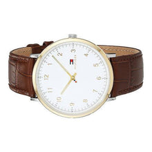 TOMMY HILFIGER | White / Gold / Brown Leather Men's James Slim Watch | 1791340