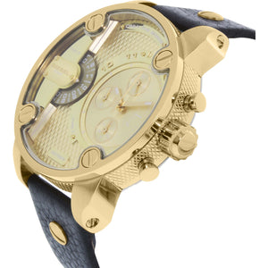 DIESEL | Gold / Black Leather Little Daddy Men's Chronograph Watch | DZ7363