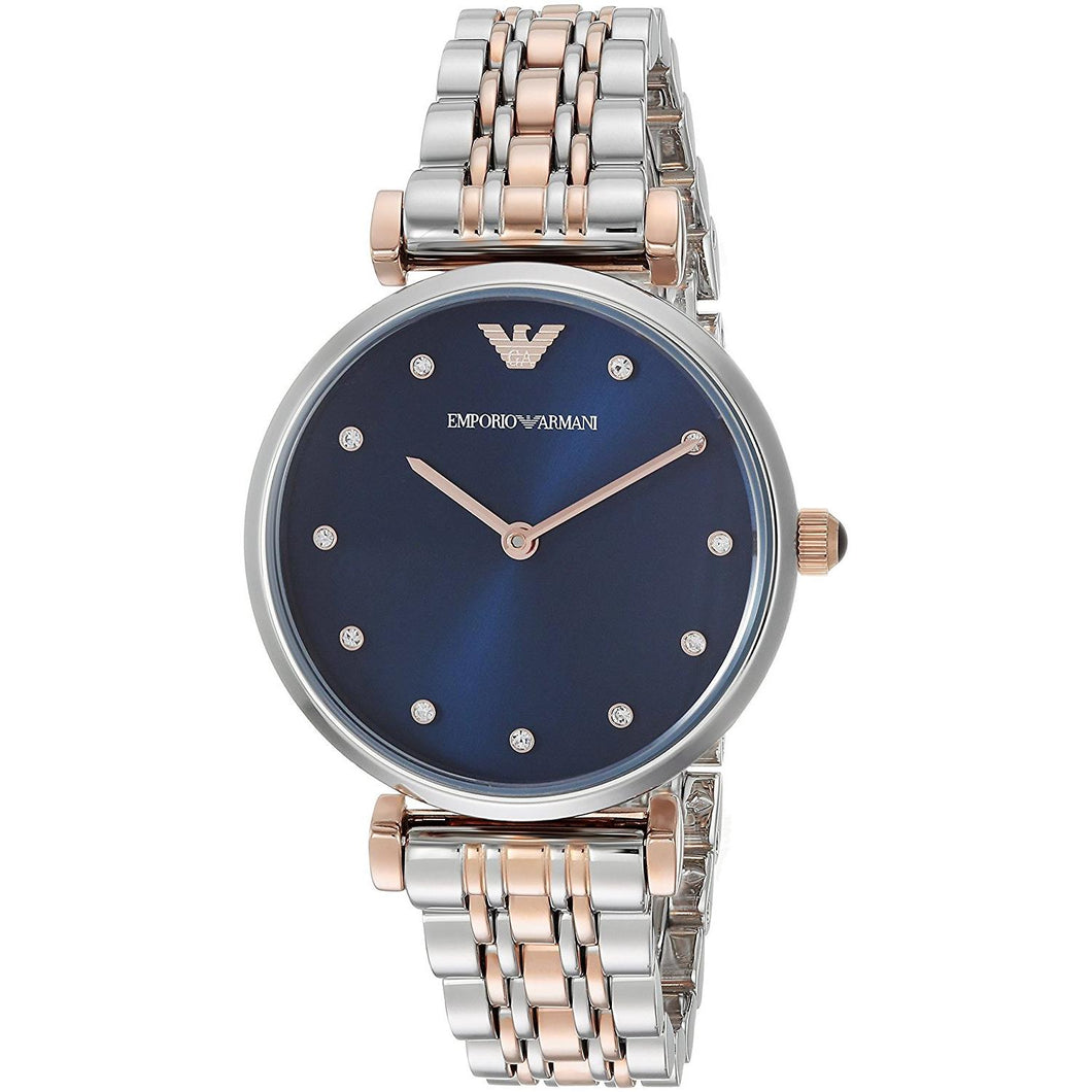 EMPORIO ARMANI | Midnight Blue / Rose Gold Gianni T-Bar Ladies' Watch | AR11092