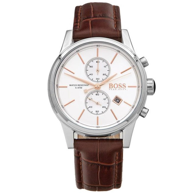HUGO BOSS |  White / Silver / Brown Men's Jet Chrono Watch | 1513280