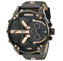 DIESEL | Rose Gold / Black Leather Mr. Daddy 2.0 Men's Chronograph Watch | DZ7350