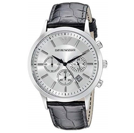 EMPORIO ARMANI | Silver / Black Leather Classic Men's Chronograph Watch | AR2432