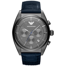 EMPORIO ARMANI |  Grey / Dark Blue Leather Men's Chronograph Watch | AR1650