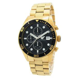 EMPORIO ARMANI | Black / Gold Men's Chronograph Watch | AR5857